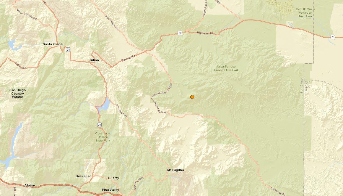 Mildes Erdbeben in Anza Borrego-Bereich Rasseln östlichen San Diego