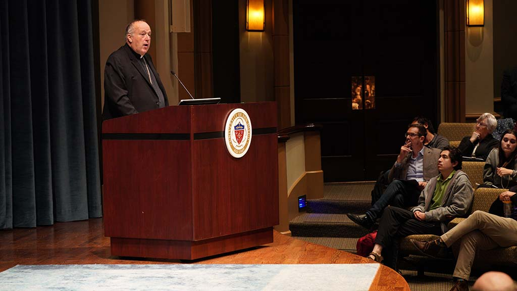 "Bishop McElroy ended talk with ""Let us pray that our nation moves toward such greatness in this election year, and that faith-filled prudent disciples are leading the way."""
