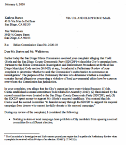San Diego Ethics Commission letter to Kathryn Burton and Mat Wahlstrom (PDF)