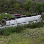 Bus in fatal crash ended up on roof off Interstate 15.