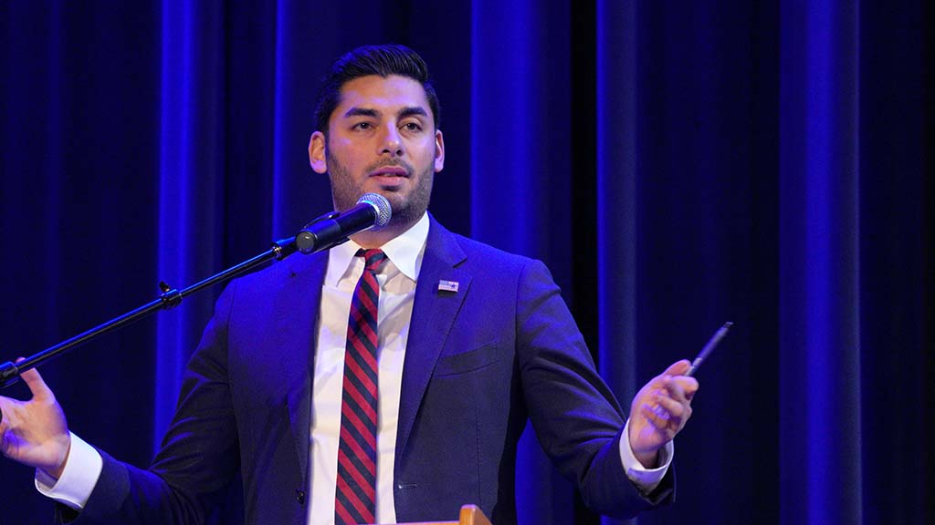 "Ammar Campa-Najjar reminded the audience that ""half of you voted for me"" in the November 2018 election won by Duncan D. Hunter."