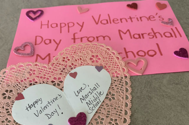 Valentine's Day card sent by middle school student