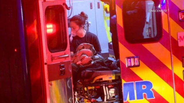 Injured deputy inside ambulance