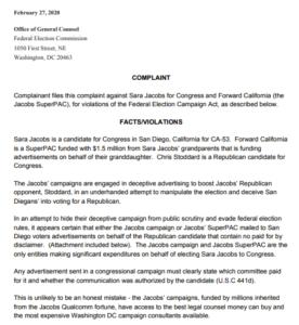 Georgette Gómez complaint against Sara Jacobs. (PDF)