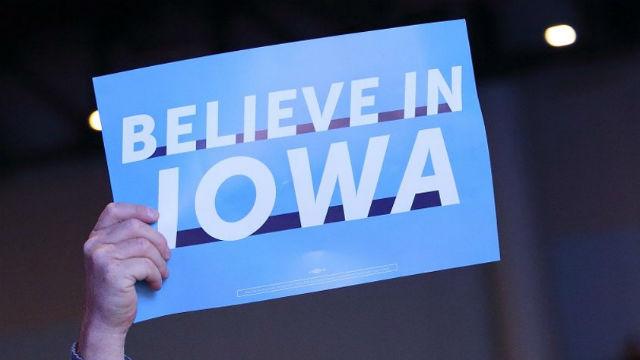 Sign at Iowa caucuses