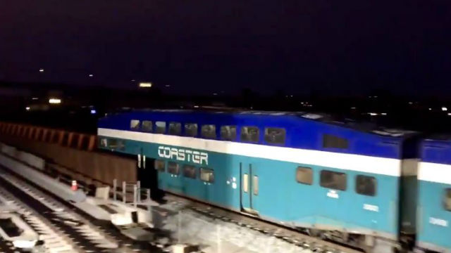 Coaster train makes first trip across completed bridge
