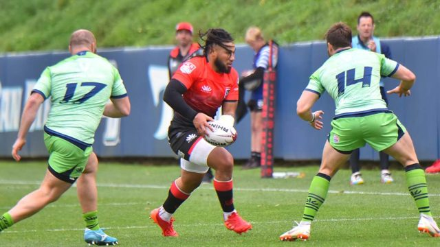 Ma'a Nonu (in red during season opener) helped San Diego to the top of MLR standings with his first try of the season.