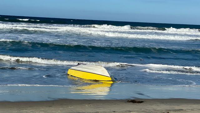 Overturned smuggling boat