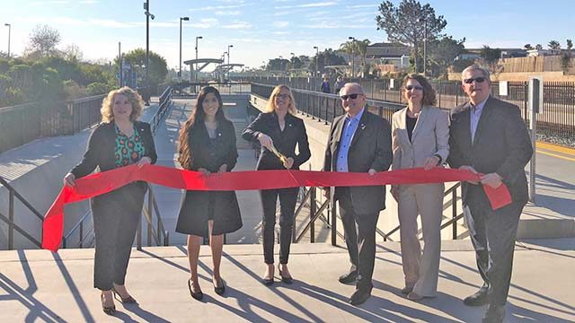 Local and state officials cut ribbon on  $33.7 million Poinsettia Station Improvements project in Carlsbad.