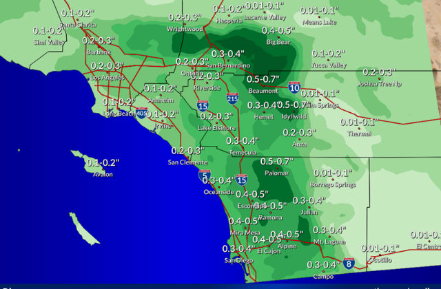Map of forecast rainfall totals