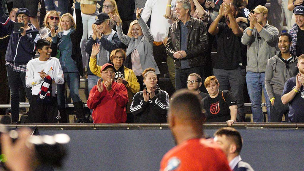 Fans cheer San Diego Legion players after the match.
