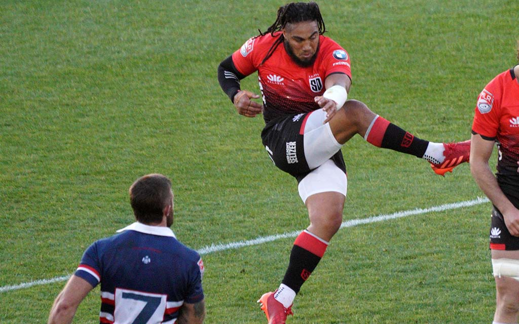 Ma'a Nonu kicks the ball toward the Legion's goal in the second half of the match.