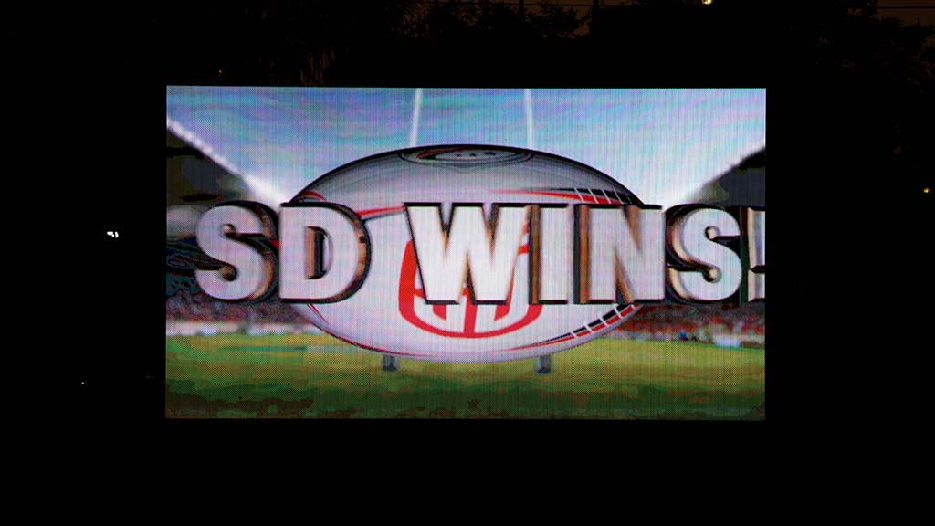 The scoreboard announced the third win for the San Diego Legion