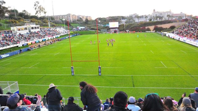 Thousands of rugby fans at Torero Stadium watch the San Diego Legion win their third game in a row.