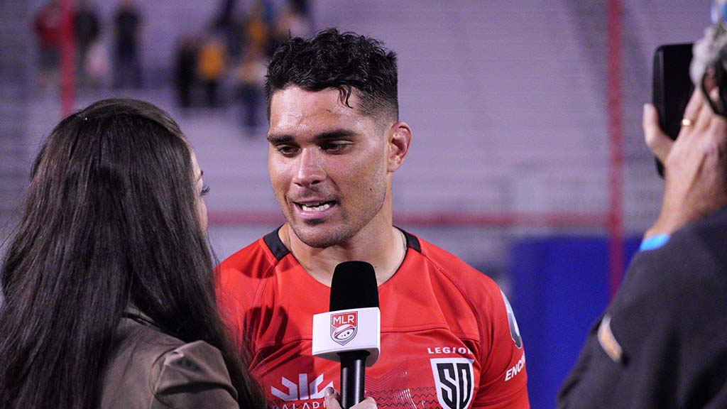 Player of the match, Psalm Wooching, is interviewed after the game.