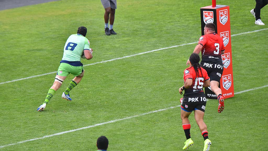 Seattle Seawolves captain, Riekert Hattingh, scores a try in the first half of the match.