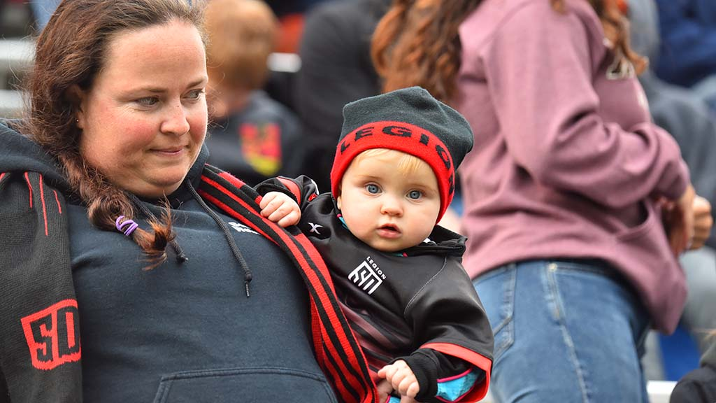 One of the youngest San Diego Legion fans is ready to cheer on his teen in the second half.