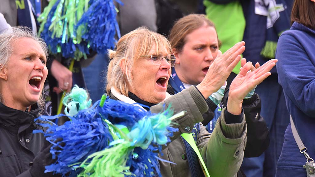 Seattle Seawolves fans enthusiastically cheer their players after each score made for the away team.