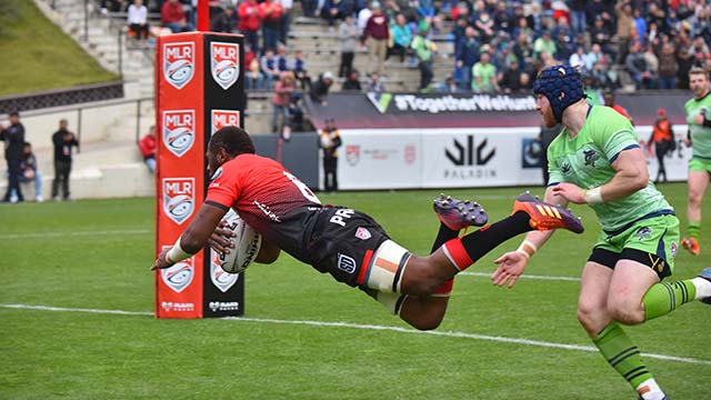 Jasa Veremalua leaps to make a try for the Legions during the second half of the match.
