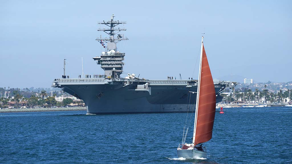 One of the sites on the whale watching cruise the USS Nimitz, leaving San Diego harbor after a visit.
