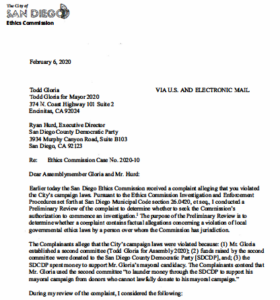 San Diego Ethics Commission letter to Todd Gloria and Democratic leaders.