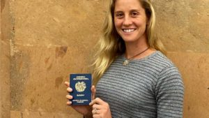 Allison Halverson holds her new Armenian passport four months after applying at nation's consulate in Glendale.