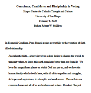 "Prepared text of Bishop McElroy speech: ""Conscience, Candidates and Discipleship in Voting."""