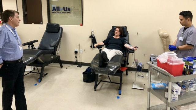 Sen. Toni Atkins donates blood