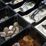 Cash in a register drawer