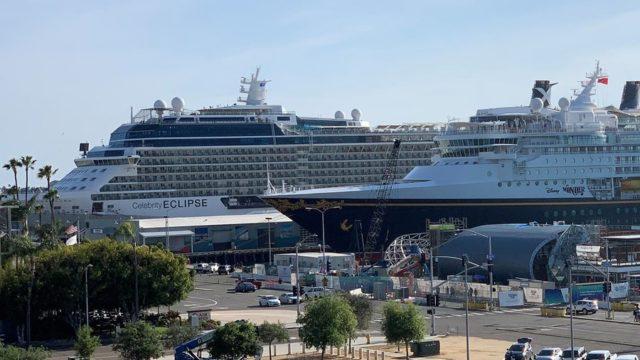 Celebrity Eclipse and Disney Wonder in port
