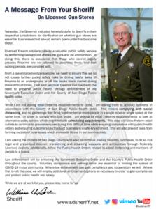 Sheriff Bill Gore's statement on gun shops. (PDF)
