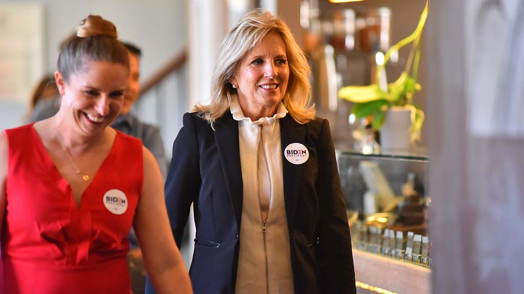 Dr. Jill Biden arrives at Banyan Kitchen + Cafe in Liberty Station to campaign for her husband, former Vice President Joe Biden on election day.