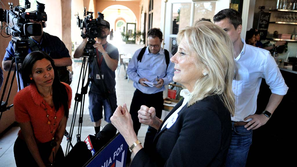 Dr. Jill Biden speaks to the media about her husband's presidential campaign.