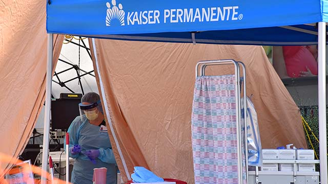 Kaiser Permanente Hospital off Mission Gorge Road triaged patients in tents outside the hospital.