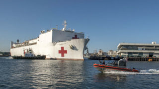 USNS Mercy arrives in Los Angeles