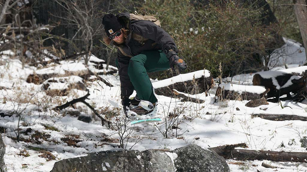 Matt Payne of Rancho San Diego got some air with his snowboard at a Sunrise Highway rock jump.