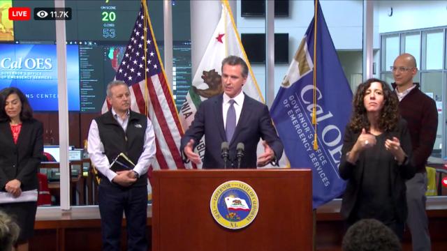 Gov. Gavin Newsom speaks in Sacramento on Sunday.