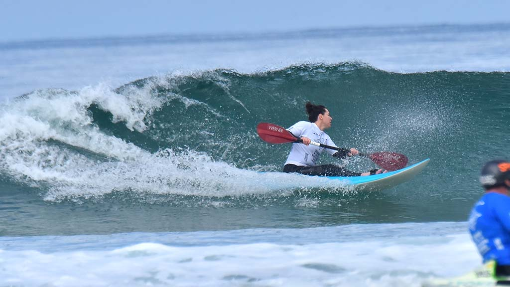 Alana Nichols, representing the U.S., shows off her skill in the waveski invitational category.