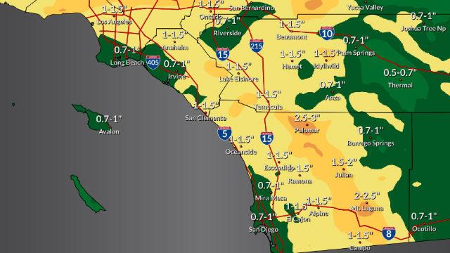 Rain forecast for Monday night through Wednesday morning