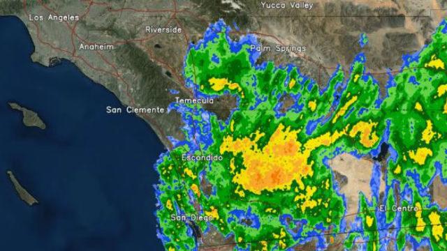 Radar image of showers over San Diego on Thursday morning