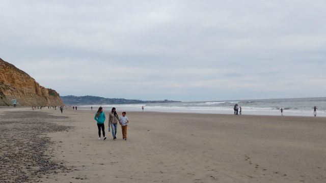 Small groups walking on Torrey Pines Beach
