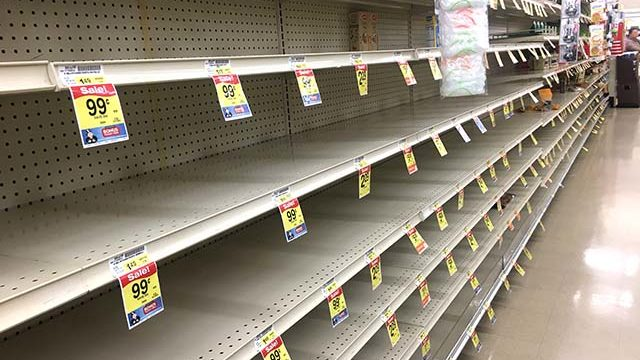 Shoppers are emptying food shelves of canned food and pasta products at grocery stores.