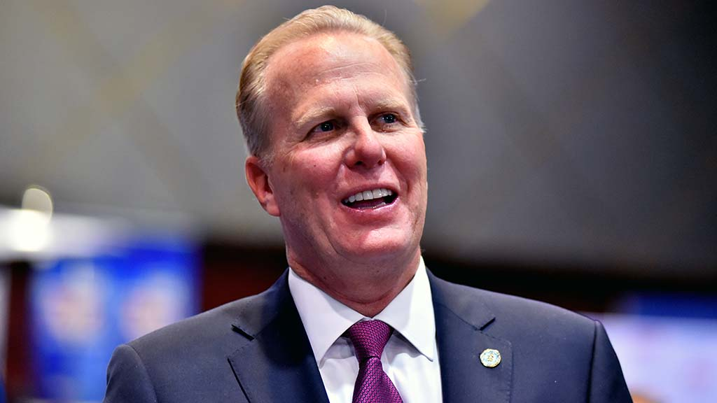 Mayor Kevin Faulconer, finishing his final term, watched San Diego results at the U.S. Grant Hotel. Photo by Chris Stone