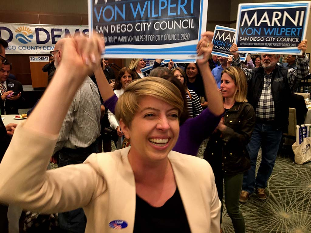 Marni Von Wilpert celebrated her top-two finish in San Diego's District 5 council race.