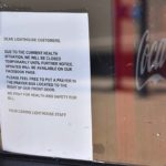 A Lighthouse Ice Cream & Yogurt in Ocean Beach posted a message about its temporary closing to its customers.