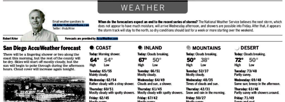 Rob Krier has appeared on the Union-Tribune weather page for about 10 years.