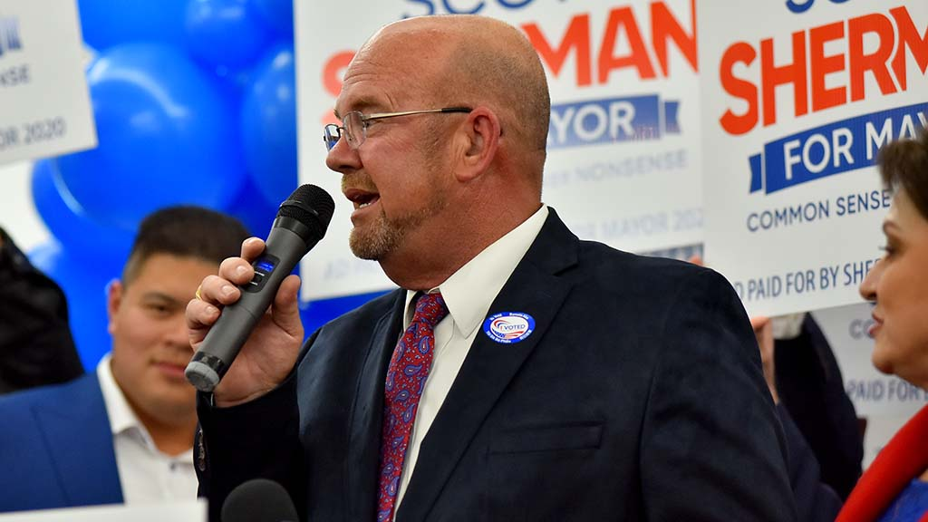 San Diego mayoral candidate Scott Sherman spoke to fellow Republicans at the U.S. Grant Hotel.