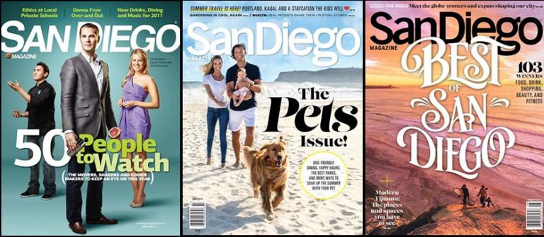 "San Diego Magazine, sold at many local grocery stores, was known for its list issues and annual ""Who to Watch"" editions."