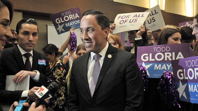 Mayoral leader Todd Gloria made rounds of TV interviews at The Westin.