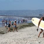 Beachgoers were eager to dip their toes in water on the first day the beaches reopened.